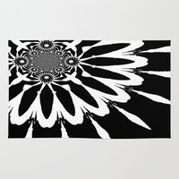 blankets Area & Throw Rugs featuring Black & White Modern Flower by 2sweet4words Designs