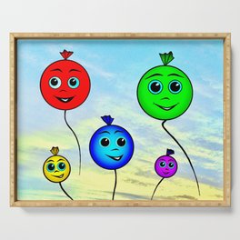 Happy colorful balloons flying in the sky Serving Tray