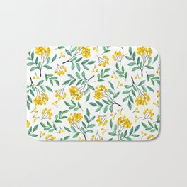 Hand painted yellow green watercolor berries floral pattern Bath Mat