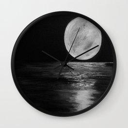 Moonlit. Sunset, water, moon, full moon, orginal painting by Jodilynpaintings. Black and white Wall Clock