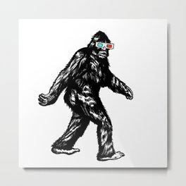 GONE SQUATCHIN' WITH 3D GLASSES Metal Print