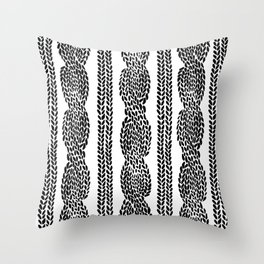 Cable Row Sm White Throw Pillow