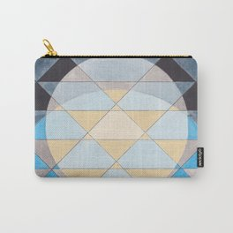 Triangle Pattern No. 14 Circles in Black, Blue and Yellow Carry-All Pouch