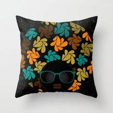 Afro Diva: Fall Colors Brown Gold Teal Throw Pillow