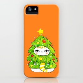 Christmas tree cat iPhone Case