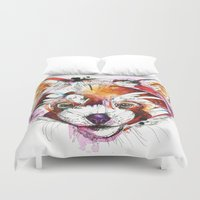 red panda Duvet Covers featuring Red Panda  by Abby Diamond