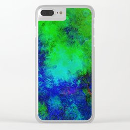 Awaken - Blue, green, abstract, textured painting Clear iPhone Case