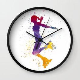 Woman in roller skates 03 in watercolor Wall Clock