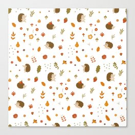 children hedgehog pattern, forest design Canvas Print