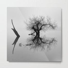 Zen Tree. Foggy Sunrise At The Lake. BW. Square Metal Print
