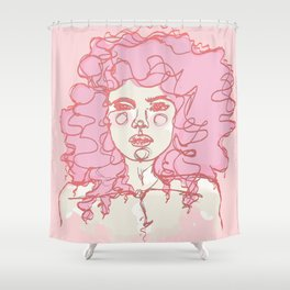 Pinky Pink Curls Shower Curtain