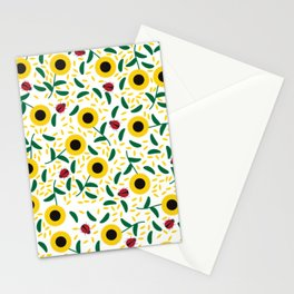 Sunflowers and Ladybugs Pattern Stationery Cards