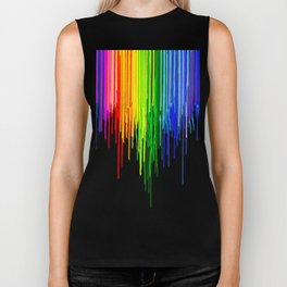 Rainbow Paint Drops on Black Biker Tank