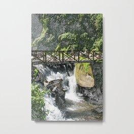 Bridge Over a Waterfall Metal Print