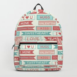 Romantic coral ivory green love valentine's typography Backpack