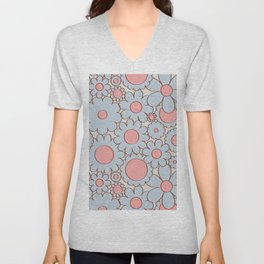 Groovy Daisy Floral in Baby Blue + Pink Unisex V-Neck