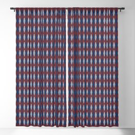 Textured Argyle in Red, White and Blue Blackout Curtain