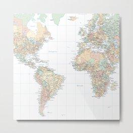 Clear World Map Metal Print