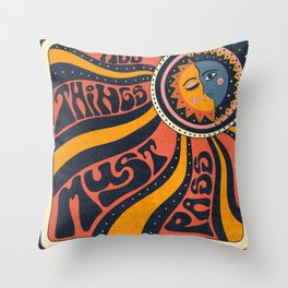All things Must Pass, 70s, 90s Ethnic Sun Throw Pillow