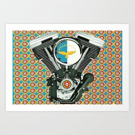 Blue Portuguese flag collage Art Print