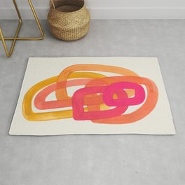 Funky Retro 70' Style Pattern Orange Pink Greindent Striped Circles Mid Century Colorful Pop Art Rug