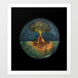 Volcano black Art Print