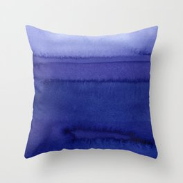 Blue Violet Watercolor Horizontal Stripes Abstract Throw Pillow