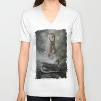 mother of dragons V-neck T-shirts featuring Mother of Dragons by Flo Tucci