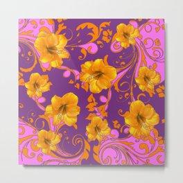 TROPICAL YELLOW & GOLD AMARYLLIS FLOWERS PATTERN Metal Print