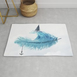 Water Feather • Blue Feather (horizontal) Rug