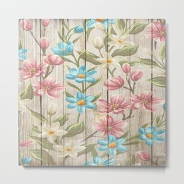 Faux Wood Country Floral Metal Print