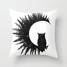 Owl and Forest Throw Pillow