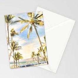 Vintage Hawaiian Beach, Mauna Lani Bay, Blue Stationery Cards