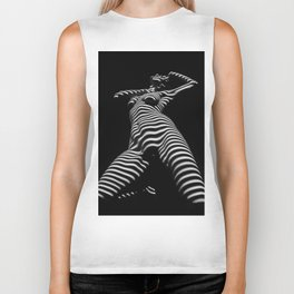 7068s-KMA Black White Nude Abstract Woman on Her Knees Zebra Styriped Biker Tank