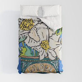 Matilija Fried Egg Flower Bouquet in Lyle's Golden Syrup Tin on Blue Gouache Still Life Painting Comforters