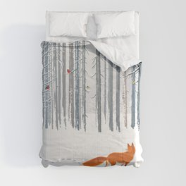 Fox in the white snow winter forest illustration Comforters