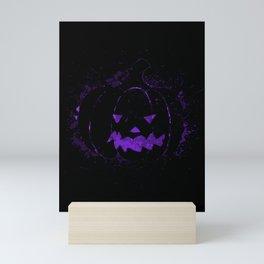 Halloween Purple Pumpkin On Black Simple Art Mini Art Print