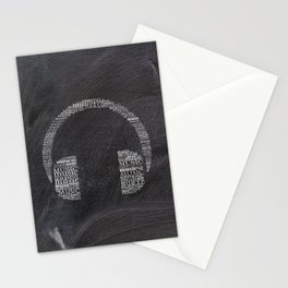 Headphone on chalkboard Stationery Cards