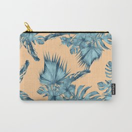 Island Love Hibiscus Palm Orange Teal Blue Carry-All Pouch