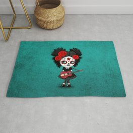 Day of the Dead Girl Playing Latvian Flag Guitar Rug