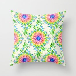 Midsummer Bright Boho Mandala Throw Pillow