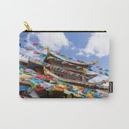Tibetan temple with prayer flags Carry-All Pouch