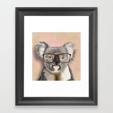 Funny koala with glasses Framed Art Print