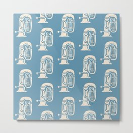 Tuba Pattern Blue and Beige Metal Print