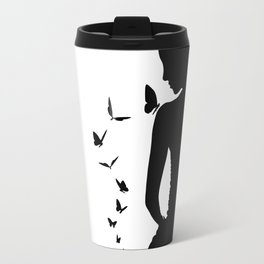 Lady with butterfly Travel Mug