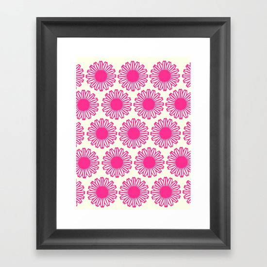 vintage flowers pink  Framed Art Print