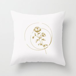 Gold Rose Throw Pillow