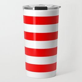 Horizontal Stripes (Red/White) Travel Mug