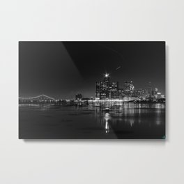Detroit Skyline at night Metal Print