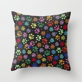 Doodle colorful paw print with geometric shapes Throw Pillow